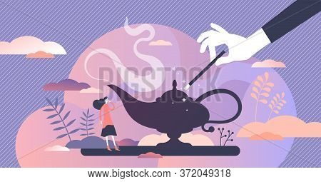 Make A Wish To Dream Come True Vector Illustration In Flat Tiny Persons Concept. Symbolic Visualizat