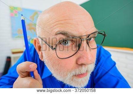 Back To School. September 1. Serious Teacher. Learning, Education, School Concept. Teacher Prepares