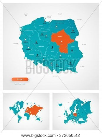 Editable Template Of Map Of Poland With Marks. Poland On World Map And On Europe Map.