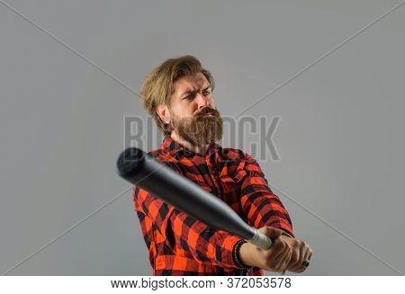 Baseball. Bearded Man With Baseball Bat. Man Swung The Bat. Baseball. Sport Bat. Sport Equipment. Ba
