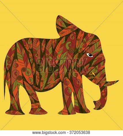 Image Ornament Abstract Yrllow Colored With Elephant
