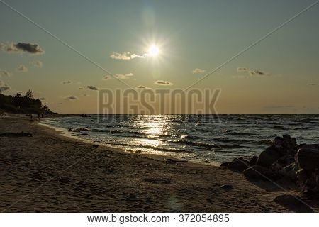 Baltic Sea White Sand Beach View At Sunset Time