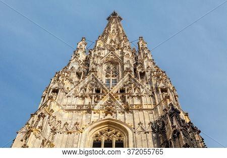 Spire Of St. Stephen Cathedral In Vienna, Austria