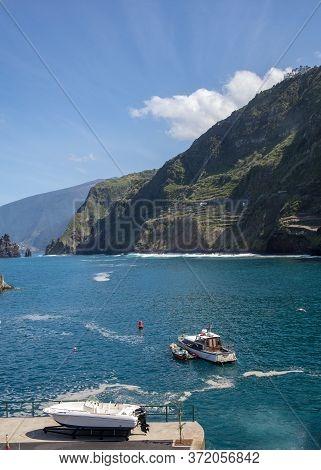 Porto Moniz, Madeira, Portugal - April 18, 2018: Fishing Port And Marina In Porto Moniz On The North