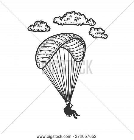 Paragliding Sketch Engraving Vector Illustration. T-shirt Apparel Print Design. Scratch Board Imitat