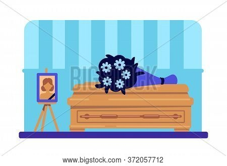 Dead Woman Coffin And Photo Flat Color Vector Illustration. Funeral Procession. Burial Ceremony. Rit