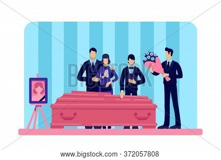 Funeral Ceremony Flat Color Vector Illustration. Man With Flowers. People In Grief. Family 2d Cartoo