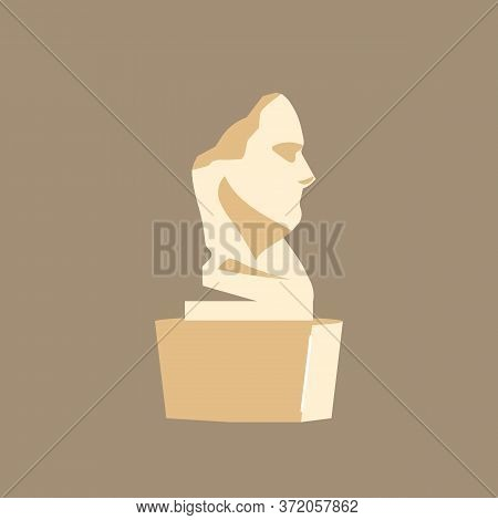 Bust Cartoon Vector Illustration. Museum Installation. Cultural Classical Masterpiece. Historical Hu