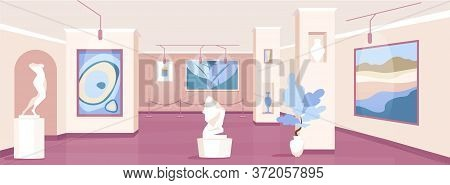 Trendy Art Gallery Flat Color Vector Illustration. Pictures And Sculptures For Exhibition. Expositio