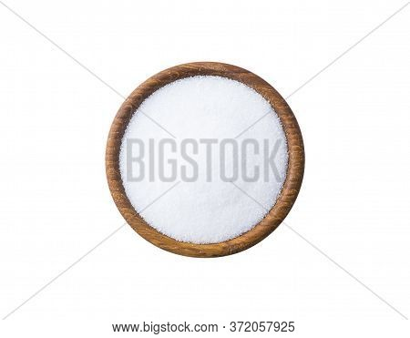 Heap Of Erythritol Isolated On White Background. Top View. Sugar Substitute On White Background. Woo