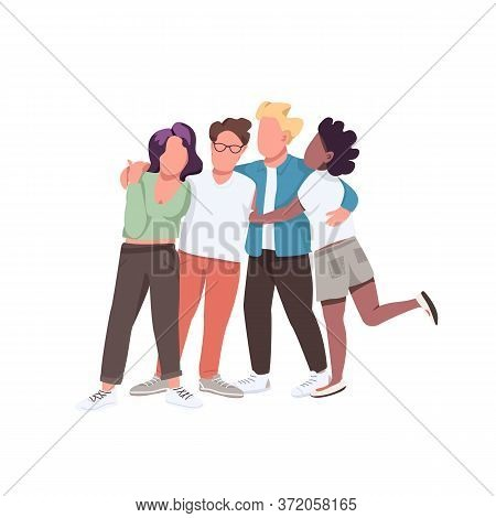 Multiracial Community Flat Color Vector Faceless Characters. Multi National Group. People Hug And St
