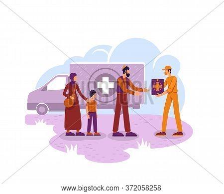 Humanitarian Aid 2d Vector Web Banner, Poster. Voluntary Organization Flat Characters On Cartoon Bac