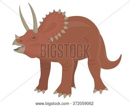 Triceratops In Cartoon Style. Herbivorous Dinosaur Isolated On White Background.