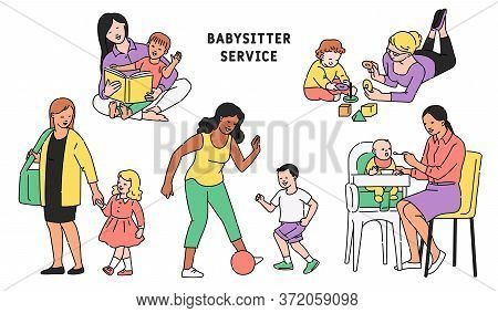 Babysitter And Child Cartoon Characters Set Sketch Vector Illustration Isolated.