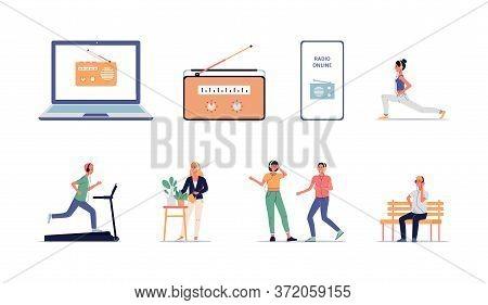 Online Radio App And Website Equipment Set And People Listening