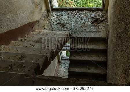 Old Apartment Building Under Construction Abounded Stairs Room