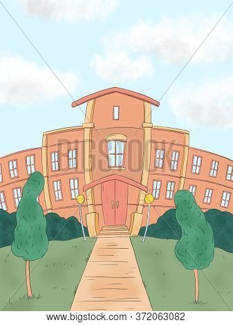 Hand Drawn Illustration Of A School Building And Empty Front Yard