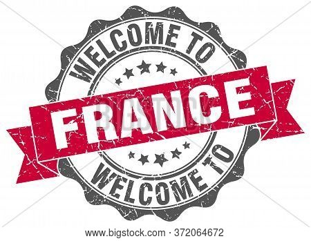 Welcome To France. Stamp. Round Ribbon Seal
