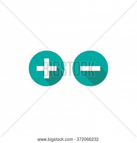 Plus And Minus Circle Flat Vector Icons Isolated On White. Add Or Plus Purchase Pictogram.