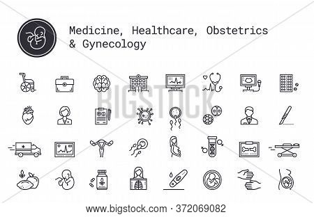Medical Services, Pregnancy, Obstetrics, Gynecology Thin Line Icons. Mother, Fetus, Newborn Health.