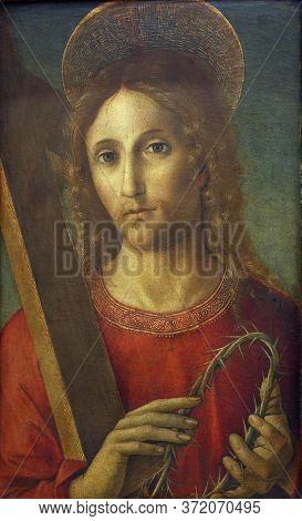 ZAGREB, CROATIA - DECEMBER 08: Pietro di Francesco degli Orioli: Christ with a cross and crown of thorns, December 08, 2014 in Zagreb, Croatia