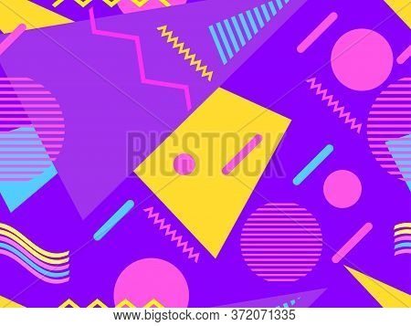 Memphis Seamless Pattern With Geometric Shapes In The Style Of The 80S. Eighties Print Colorful Back