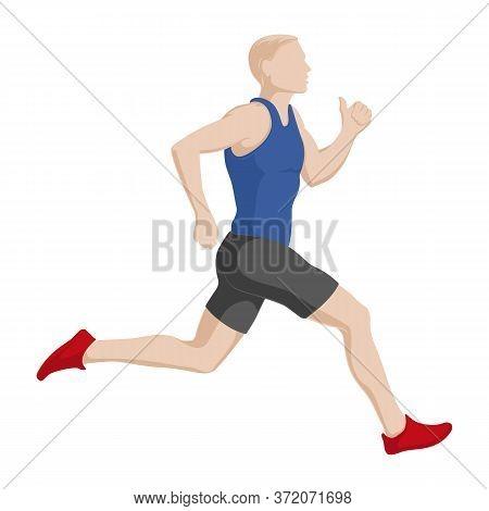 Running Men. Running Marathons. Finish. Stock Vector Illustration.