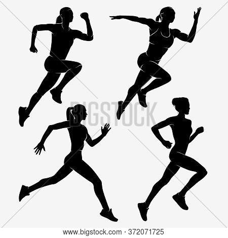 Women Running Marathons. Sportswoman Silhouette Vector Illustration.