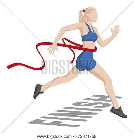 Women Running Marathons. Finish. Vector Illustration On A White Background