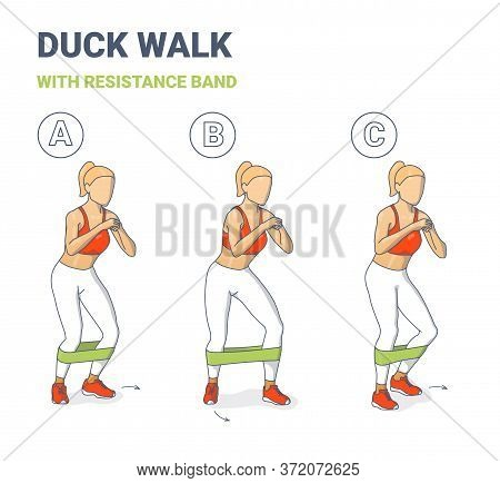 Girl Duck Walk Workout Exercise With Resistance Band Colorful Concept