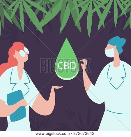 Doctors Or Pharmacists With A Drop Of Cbd Oil On A Background Of Cannabis Leaves. Scientific Lab Res