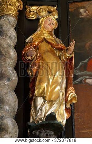 ZAGREB, CROATIA - MAY 16, 2013: Statue of Saint, altar of Saint Francis Borgia in the Church of Saint Catherine of Alexandria in Zagreb, Croatia