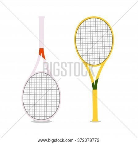 Vector Illustration With Two Rackets Isolated. Tennis Rackets In White And Yellow On A White Backgro