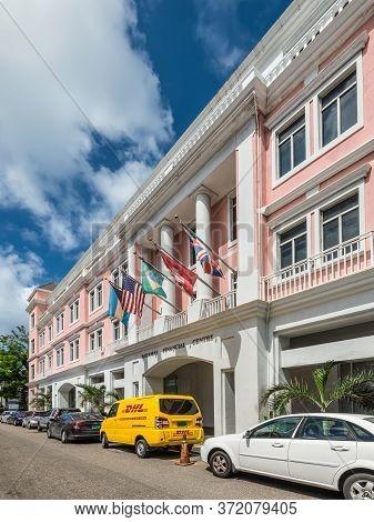 Nassau, Bahamas - May 3, 2019: Side View Of The Facade Of The Bahamas Financial Center With Internat