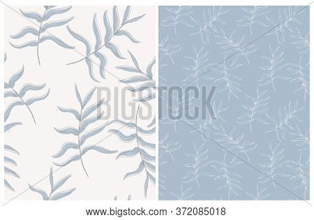 Abstract Palm Leaves Seamless Vector Pattern. Pale Blue Tropical Repeatable Design. Aloha Party Deco