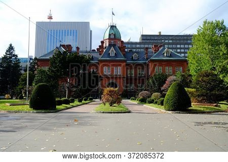 Sapporo, Japan - November 12, 2019: Former Hokkaido Government Office Building In The Autumn Season