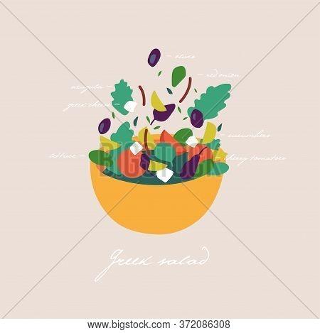 Vector Illustration Mix Of Salad Leaves. Arugula, Spinach, Lettuce Leaf, Watercress And Radicchio Wi