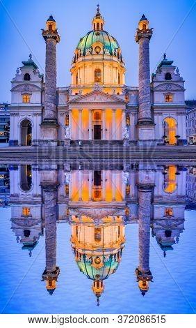 Vienna, Austria. Night View Of Famous Saint Charles Church, Karlskirche At Karlsplatz In Wien, Austr