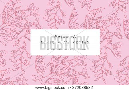 Vintage Card With Wisteria Flowers. Floral Wreath. Flower Frame For Flowershop With Label Designs. S