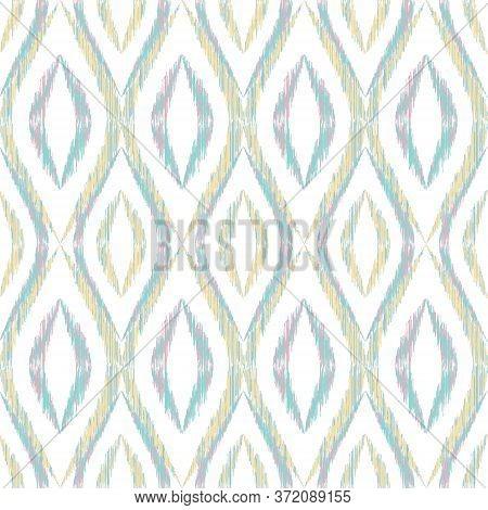 Ikat Ogee Seamless Vector Pattern Design. Ethnic Fabric Print Geometric Ikat Pattern. Simple Ogee Se