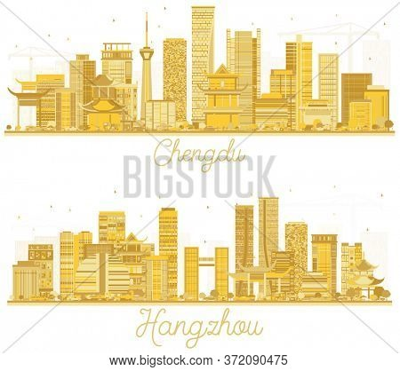 Hangzhou and Chengdu China City Skyline Silhouettes Set with Golden Buildings Isolated on White. Business Travel and Tourism Concept with Modern Architecture.