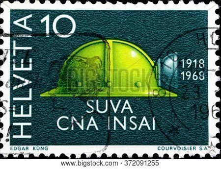 02 10 2020 Divnoe Stavropol Territory Russia The Postage Stamp Switzerland 1968 Events Accident Insu