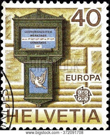 02 10 2020 Divnoe Stavropol Krai Russia The Postage Stamp Switzerland 1979 Europa Stamps - Post Tele