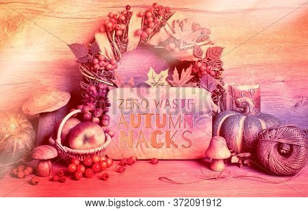 Autumn Traditional Decorations, Toned Image. Text Zero Waste Autumn Hacks On Wooden Board. Fall Wrea