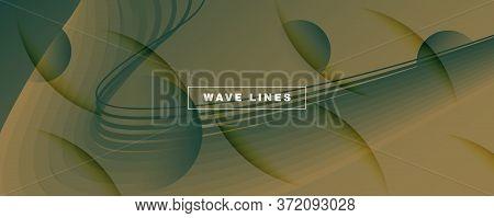 Brown Landing Page Design. 3d Flow Lines Poster. Wave Digital Background. Camo Gradient Illustration
