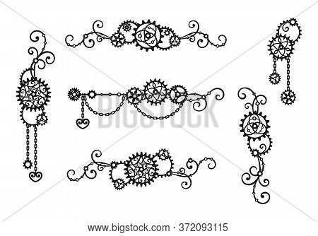 Borders And Frames Made Of Gears, Chains And Curls. Mechanism. Steampunk. Set Of Decorative Elements