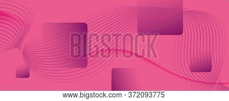Color Flow Wave. Pink Dynamic Background. 3d Fluid Line. Technology Banner.  Color Flow Wave. Vector