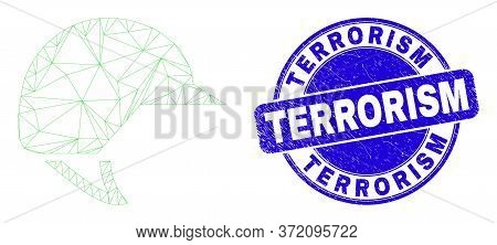 Web Mesh Motorcycle Helmet Pictogram And Terrorism Seal. Blue Vector Round Distress Seal Stamp With