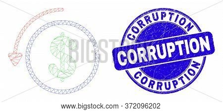 Web Carcass Undo Payment Icon And Corruption Seal Stamp. Blue Vector Round Grunge Seal Stamp With Co