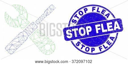 Web Mesh Setup Tools Icon And Stop Flea Stamp. Blue Vector Rounded Grunge Seal Stamp With Stop Flea